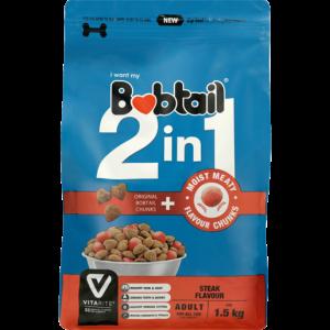 Bobtail 2-In-1 Steak Flavoured Adult Dog Food 1.5kg