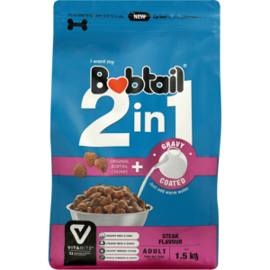 Bobtail 2-In-1 Steak Flavoured Gravy Coated Adult Dog Food 1.5kg
