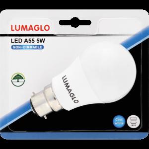 Lumaglo Cool White B22 LED Globe A55 5w