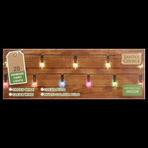 Santa's Choice Non Flashing Diamond Christmas Lights 20 Pack
