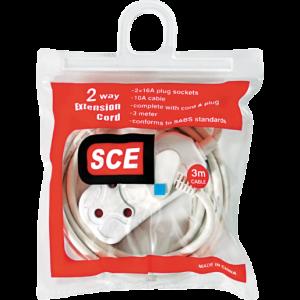 SCE 2 x 16A Plug Sockets Extension Cord 3m