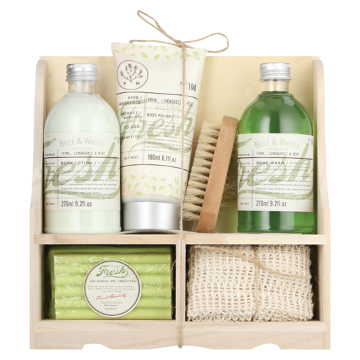 Belle & Whistle Thyme, Lemongrass & Mint Gift Bath Set 6 Piece