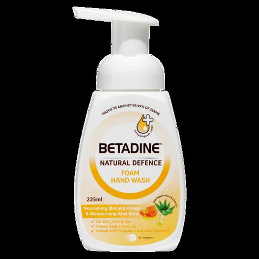 Betadine Natural Defence Nourishing Manuka Honey & Moisturising Aloe Vera Foam Hand Wash 225ml
