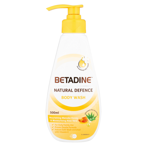 Betadine Natural Defence Nourishing Manuka Honey & Moisturising Aloe Vera Body Wash 500ml