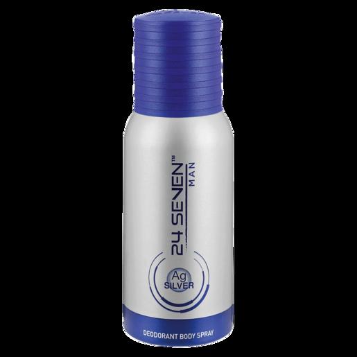 24 Seven Silver Mens Body Spray Deodorant 130ml