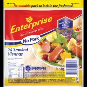 Enterprise No Pork Smoked Viennas 1kg