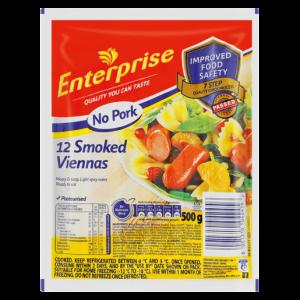 Enterprise No Pork Smoked Viennas 500g
