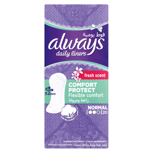 Always Comfort Protect Normal Daily Liners 20 Pack