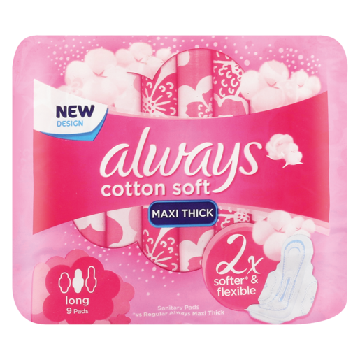 Always Cotton Soft Long Sanitary Pads 9 Pack