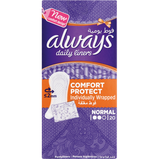 Always Daily Liners Normal Comfort & Protect Individually Wrapped Pantyliners 20 Pack