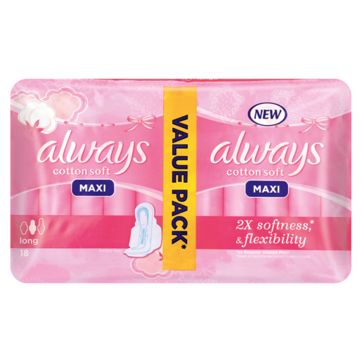 Always Maxi Cotton Soft Long Sanitary Pads Value Pack 18 Pack