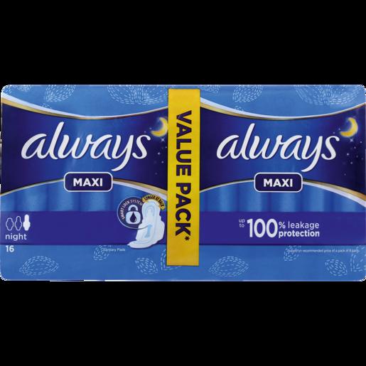 Always Maxi Night Sanitary Pads 16 Pack
