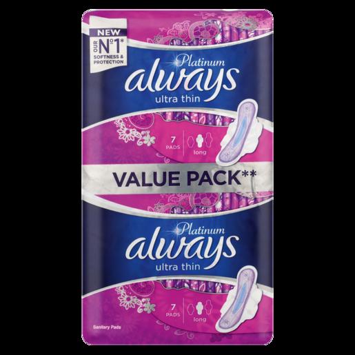 Always Platinum Ultra Thin Long Sanitary Pads 14 Pack