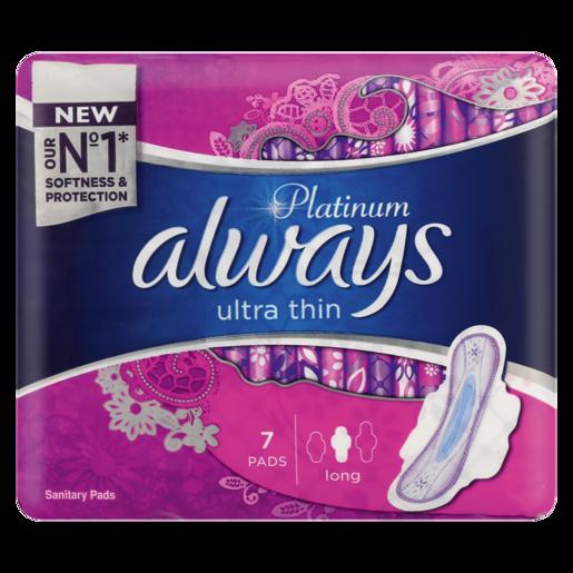 Always Platinum Ultra Thin Long Sanitary Pads 7 Pack