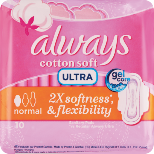 Always Ultra Cotton Soft Normal Sanitary Pads 10 Pack