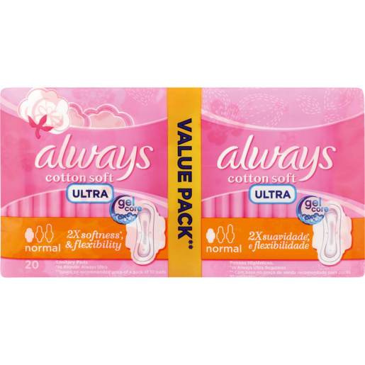 Always Ultra Cotton Soft Normal Sanitary Pads 20 Pack