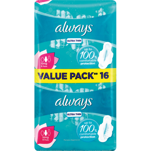 Always Ultra Thin Long Sanitary Pads 16 Pack