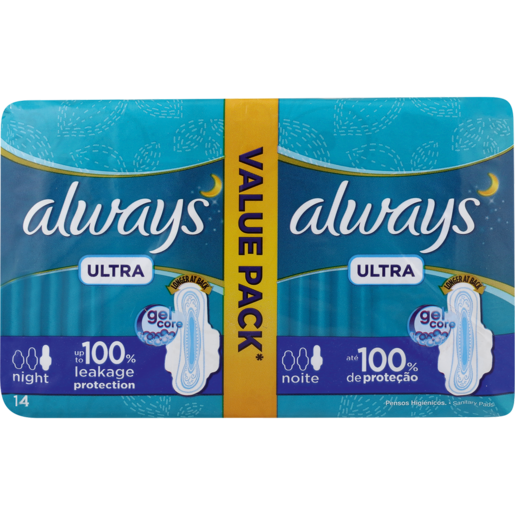 Always Ultra Value Pack Night Sanitary Pads 14 Pack