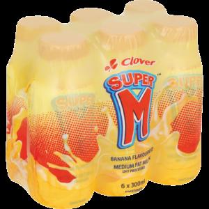 Clover Super M Banana UHT Flavoured Milk 6 x 300ml