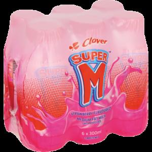 Clover Super M Strawberry UHT Flavoured Milk 6 x 300ml