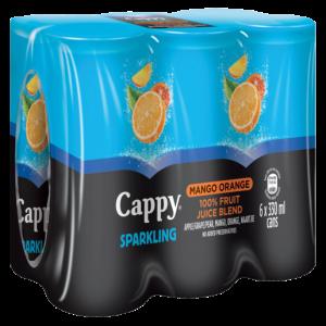 Cappy Sparkling 100% Mango Orange Juice Blend Cans 6 x 330ml