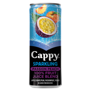 Cappy Sparkling Passion Peach Flavoured Fruit Juice Can 330ml