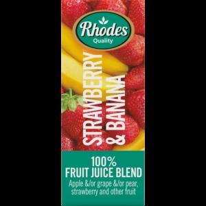 Rhodes 100% Strawberry & Banana Fruit Juice Blend Carton 200ml