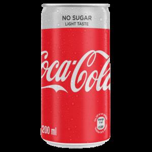 Coca-Cola No Sugar Light Taste Soft Drink Can 200ml