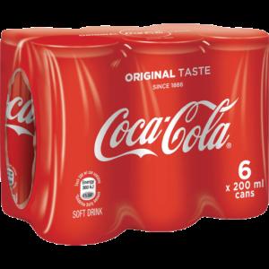 Coca-Cola Original Soft Drink Cans 6 x 200ml