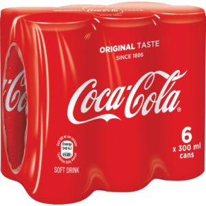 Coca-Cola Original Soft Drink Cans 6 x 300ml