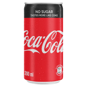 Coca-Cola Zero No Sugar Soft Drink Can 200ml