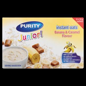 Purity Junior Banana & Caramel Flavoured Instant Oats Sachets 8 x 35g