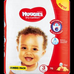 Huggies Dry Comfort Jumbo Pack No. 3 Diapers 76 Pack