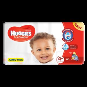 Huggies Dry Comfort Jumbo Pack Size 4+ Diapers 60 Pack