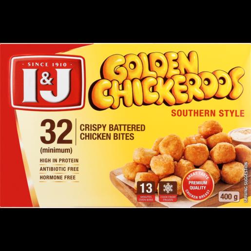 I&J Golden Chickeroos Southern Style Crispy Battered Chicken Bites 400g