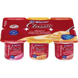 Clover Classic Smooth Strawberry / Mixed Fruit / Apricot Yoghurt Based Dairy Snack 6 x 100g