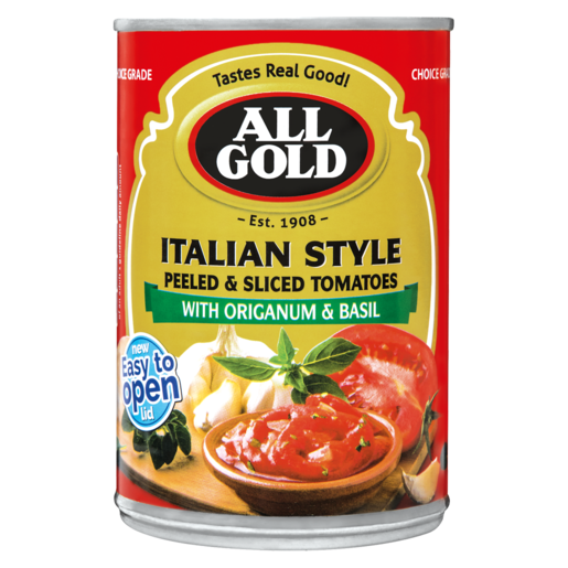 All Gold Italian Style Peeled & Sliced Tomatoes With Origanium & Basil Can 410g