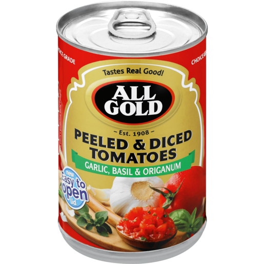 All Gold Peeled & Diced Garlic, Basil & Origanum Tomatoes 400g