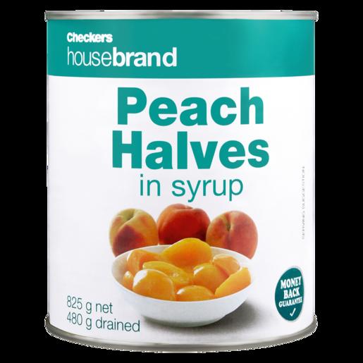 Checkers Housebrand Peach Halves In Syrup 825g