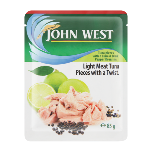 John West Lime & Black Pepper Flavoured Light Meat Tuna Pieces Pouch 85g