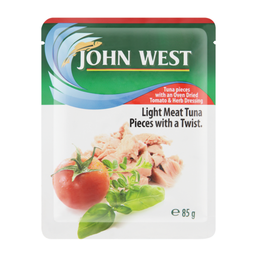 John West Oven Dried Tomato & Herbs Flavoured Light Meat Tuna Pieces Pouch 85g
