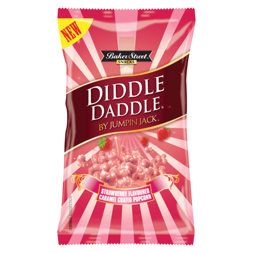 Diddle Daddle Strawberry Flavoured Caramel Coated Popcorn 150g