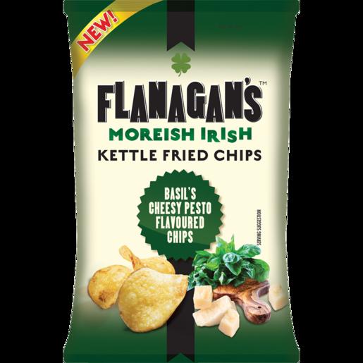 Flanagan's Moreish Irish Basil's Cheesy Pesto Flavoured Kettle Fried Chips 125g