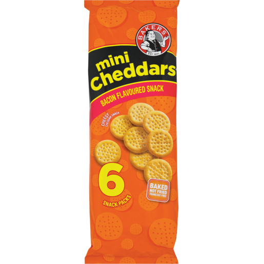 Bakers Bacon Mini Cheddars Pack 6 x 33g