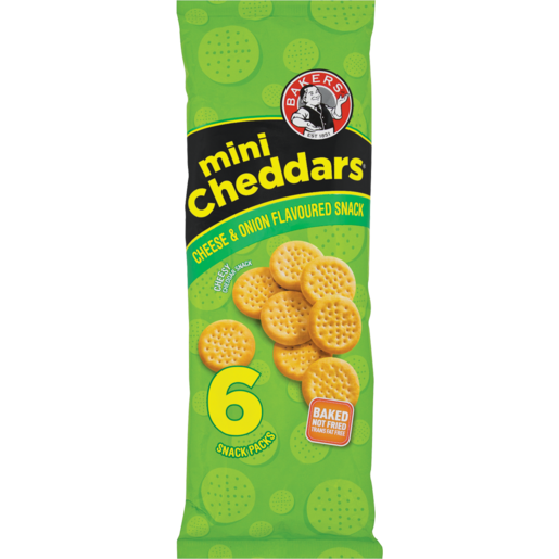 Bakers Cheese & Onion Mini Cheddars Pack 6 x 33g