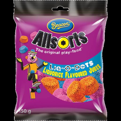 Beacon Allsorts Liq-O-Dots Liquorice Flavoured Jubes 150g