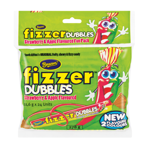 Beacon Fizzer Dubbles Strawberry & Apple Flavoured Sweets 24 Pack