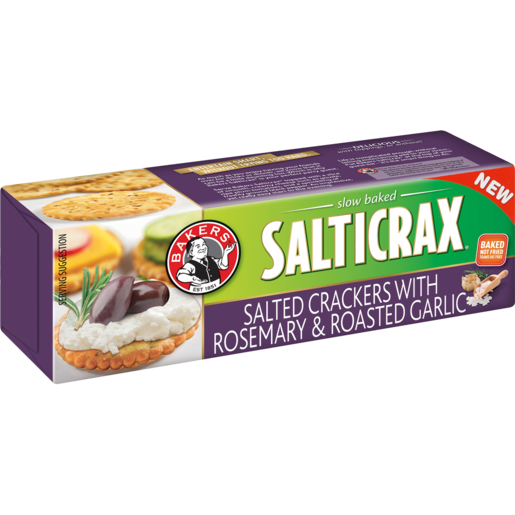 Bakers Salticrax With Rosemary & Roasted Garlic Crackers 200g