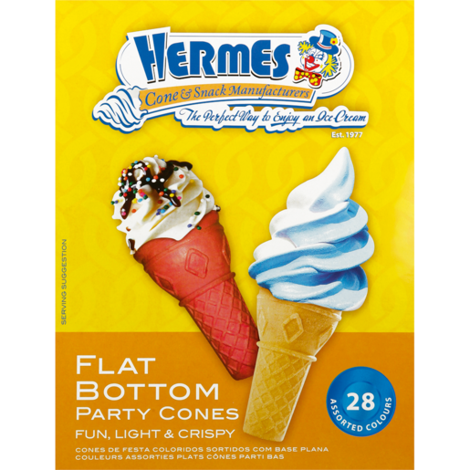 Hermes Flat Bottom Party Cones 28 Pack