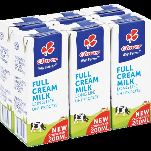 Clover UHT Long Life Full Cream Milk 6 x 200ml
